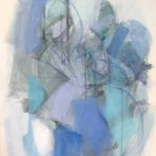 two figures, blue