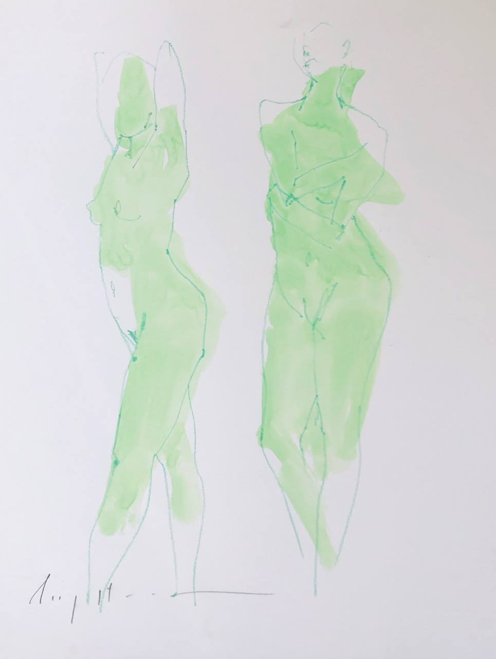 two figures, jade