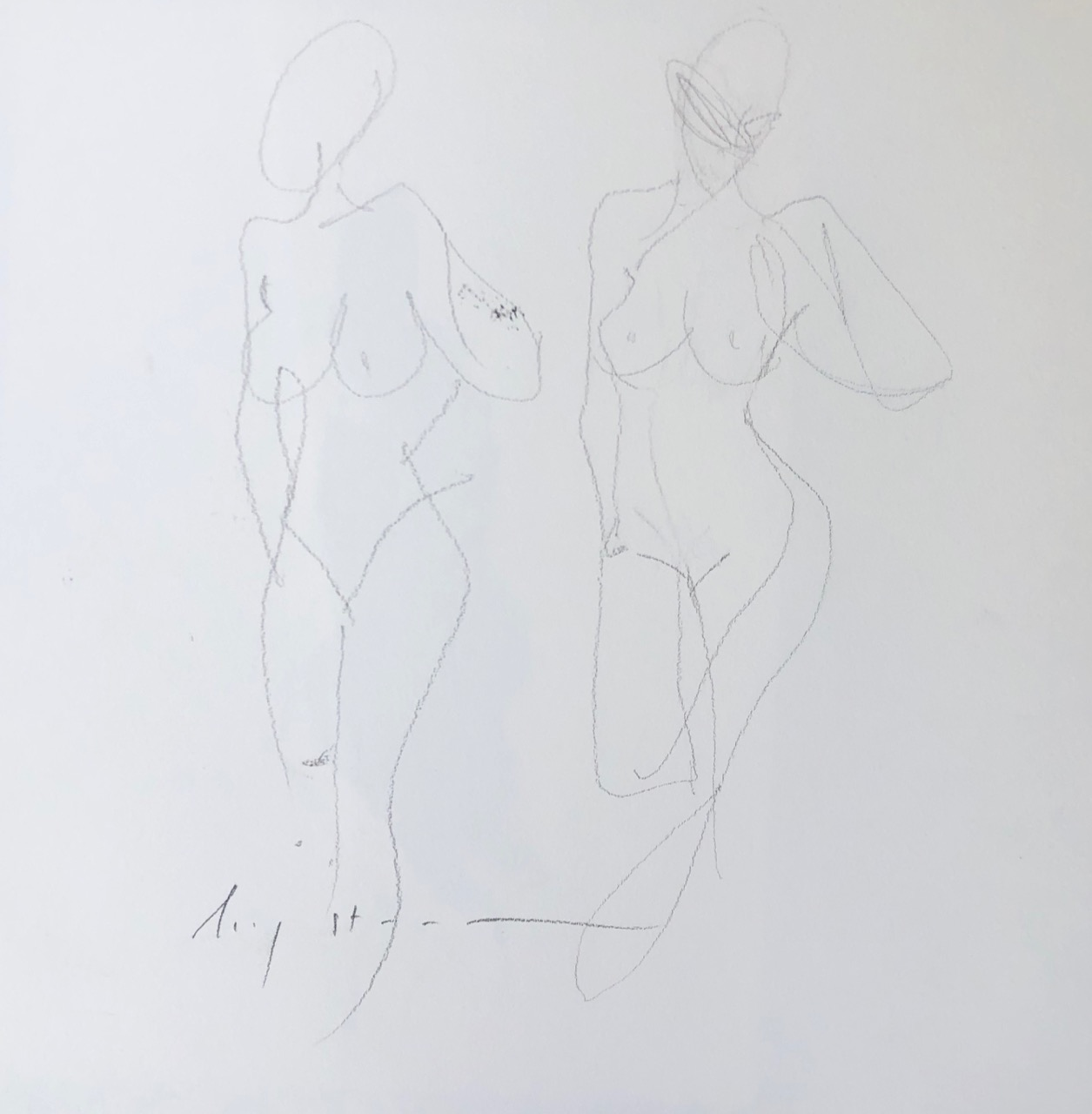 two figures, graphite