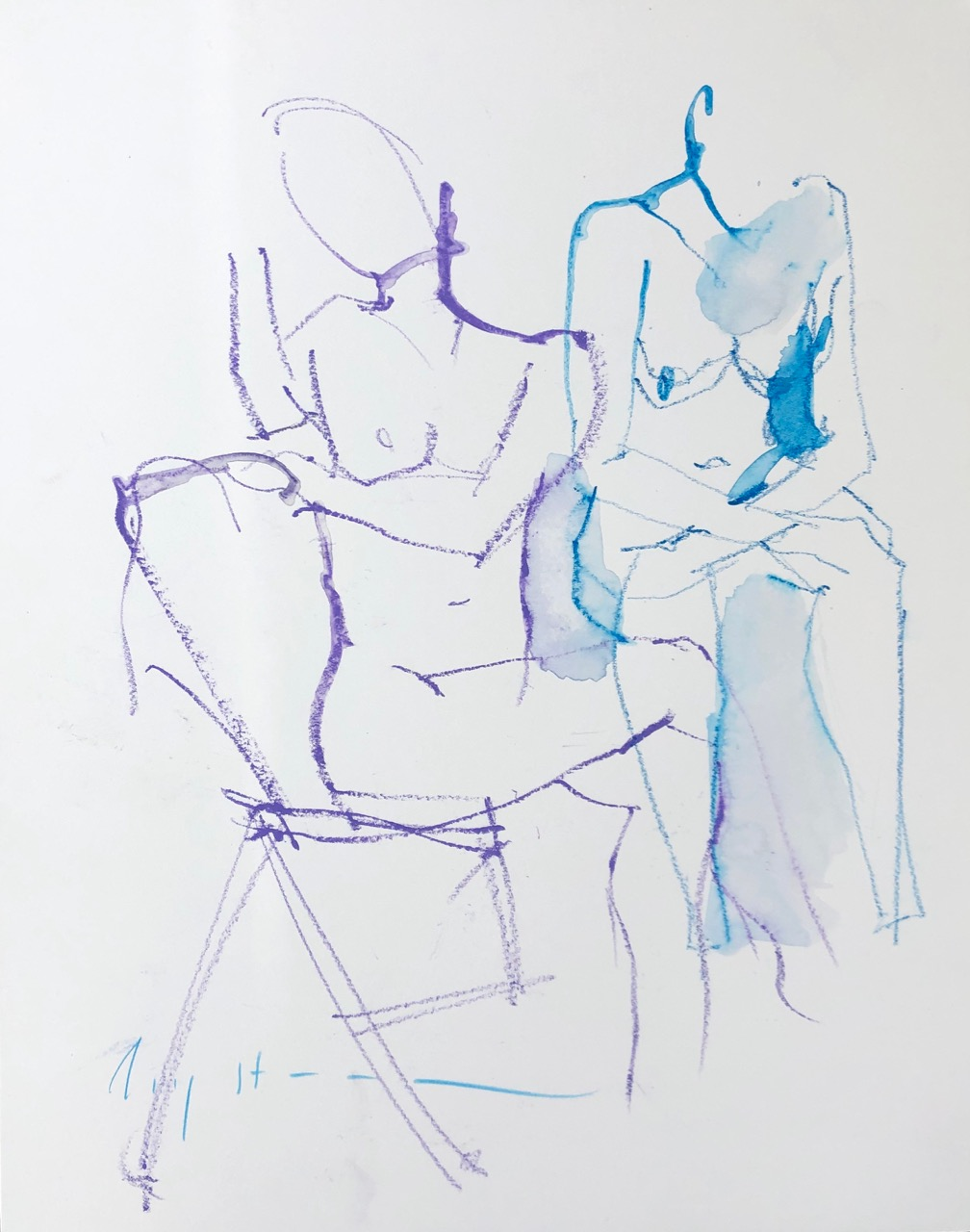 seated, purple and blue
