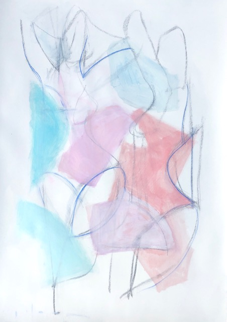 two figures; orchid, blue, coral